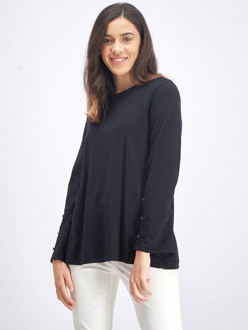 Women's Petite Hardware-Sleeve Sweater, Deep Black