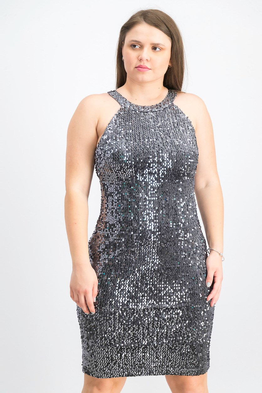 Women's Velvet Sequined Sheath Dress, Charcoal