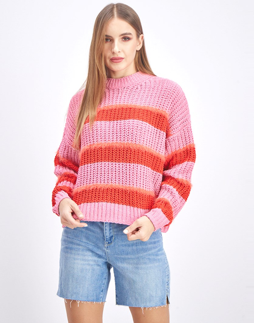 Women's Knite Long Sleeve Sweater, Pink/Red