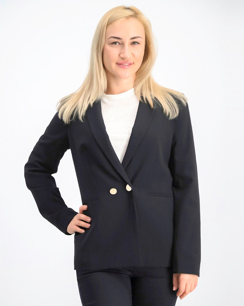 Women's Two-Button Peak Collar Double Breasted Blazer, Black