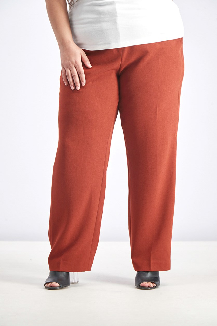 Women's Plus Size Crepe Solid Straight Leg Pants, Russet