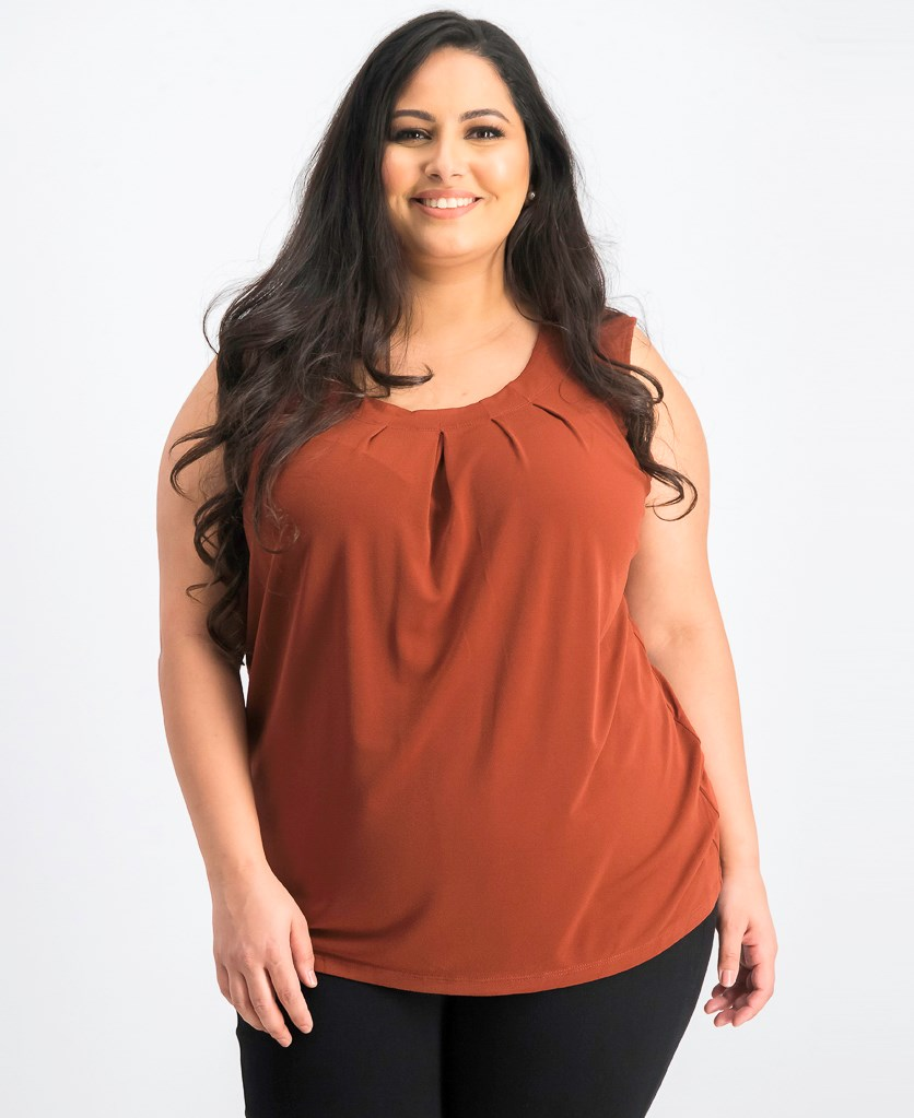 Plus Size Jewel-Neck Shell, Russet