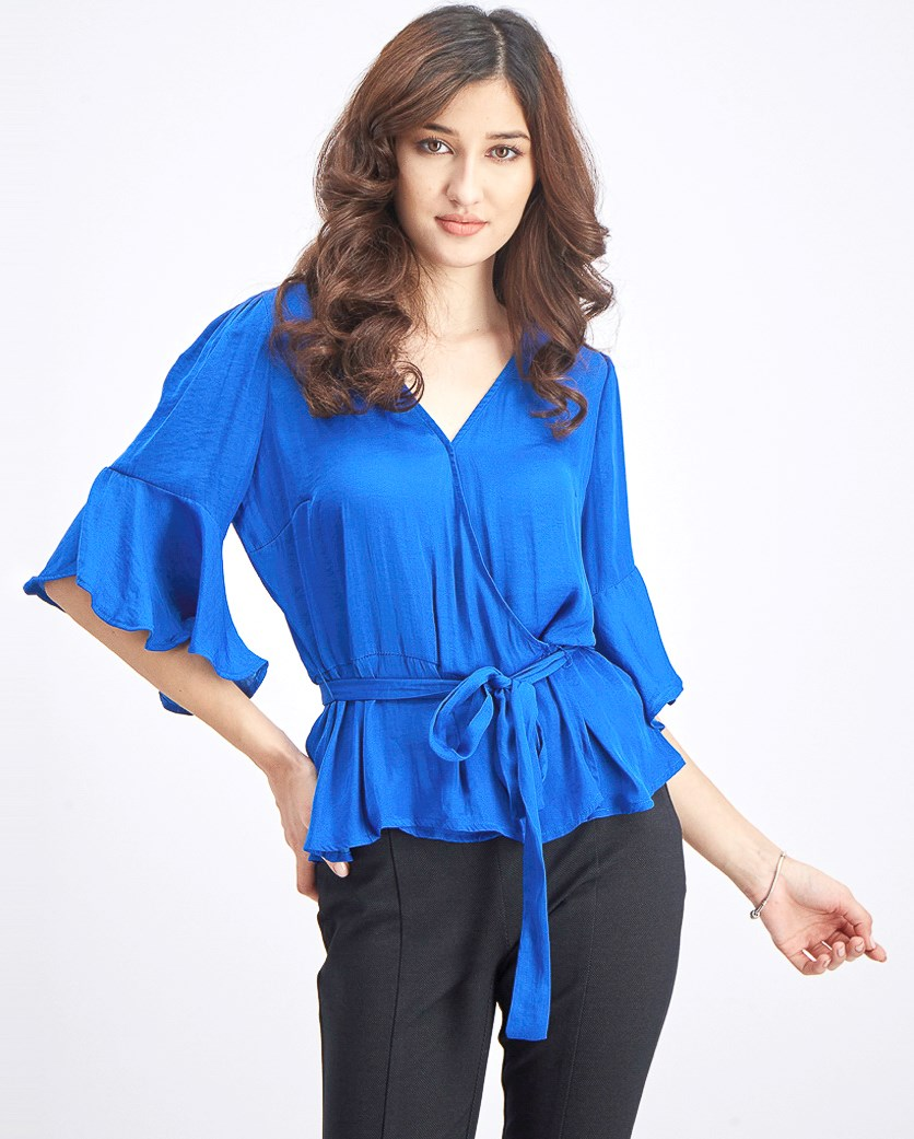 Women's Surplice Ruffled-Sleeve Blouse, Blue