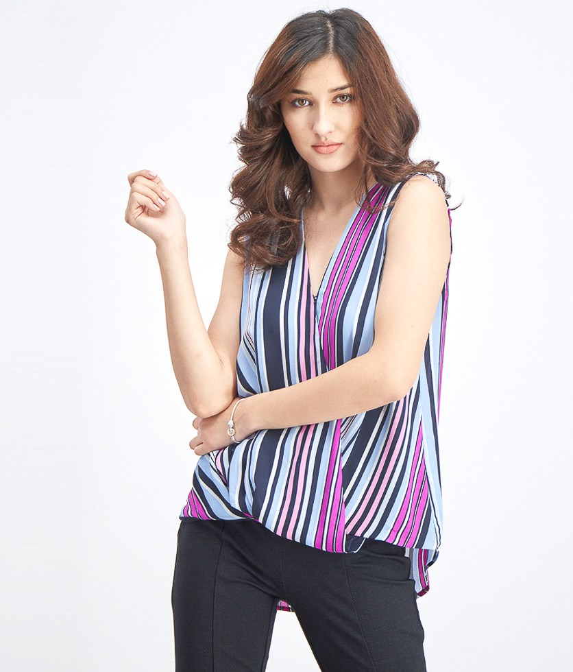 Women's Striped Blouse, Blue Combo