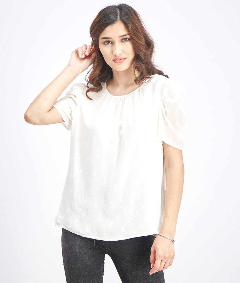 Women's Textured Blouse, Pearl Ivory
