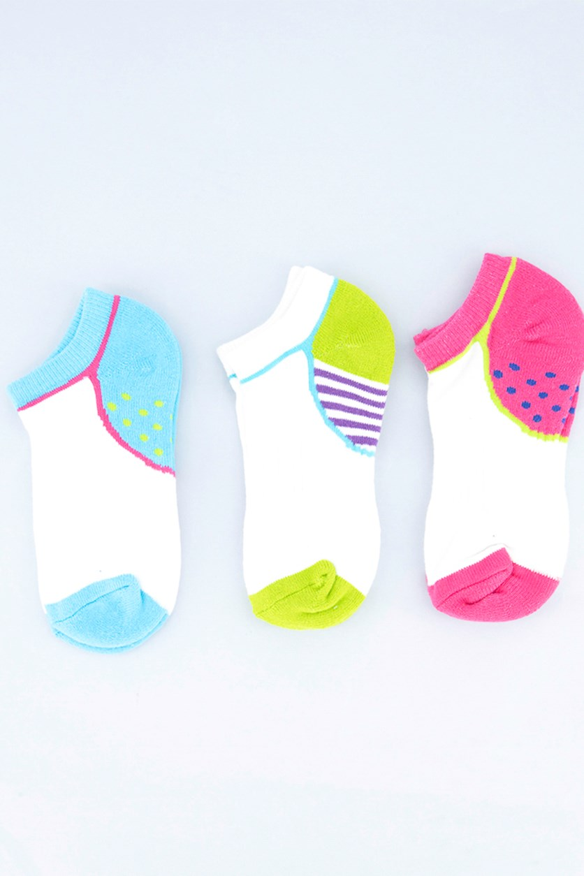 Girl's 3 Pair Textured Socks, White/Pink/Blue/Green