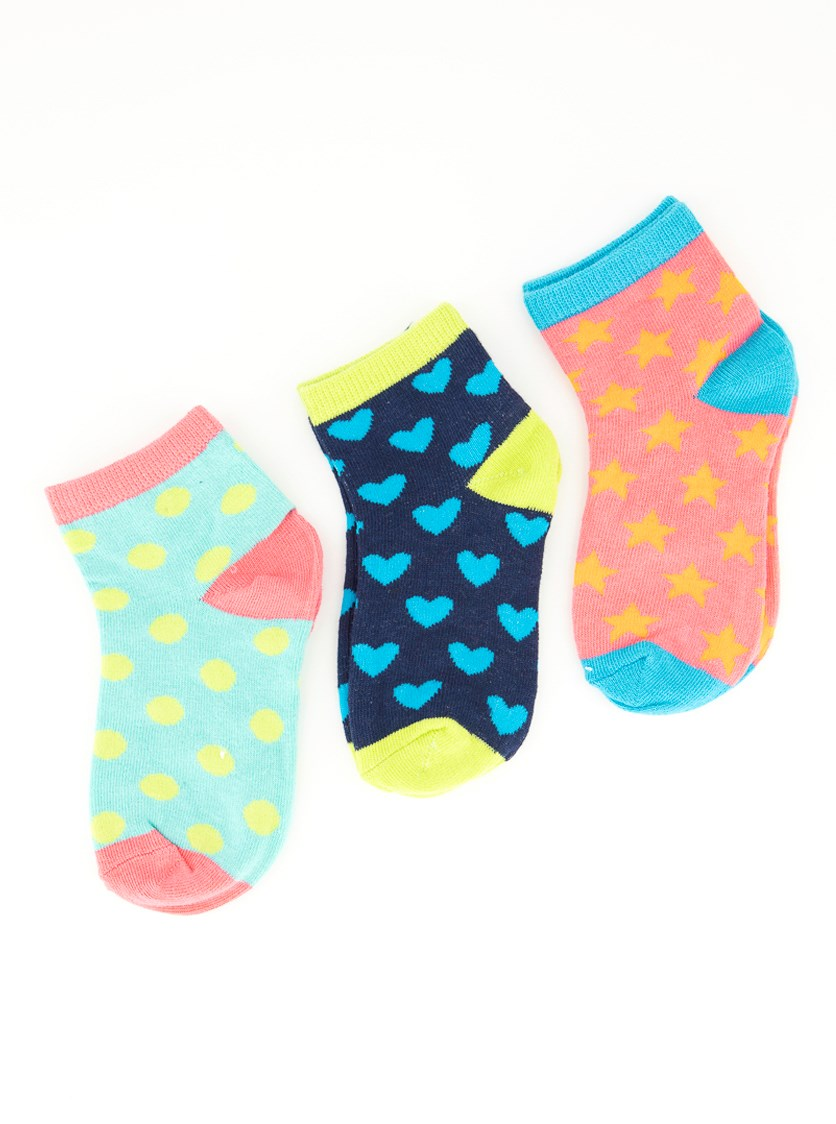Kids Girl's Polka and Shapes Sock's, Navy/Mint/Pink