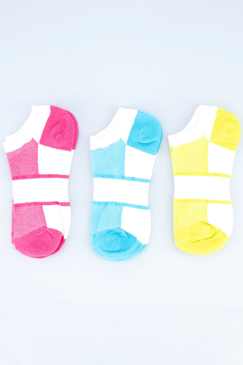 Girl's 3 Pair Colorblocked Socks, White/Pink/Green/Blue