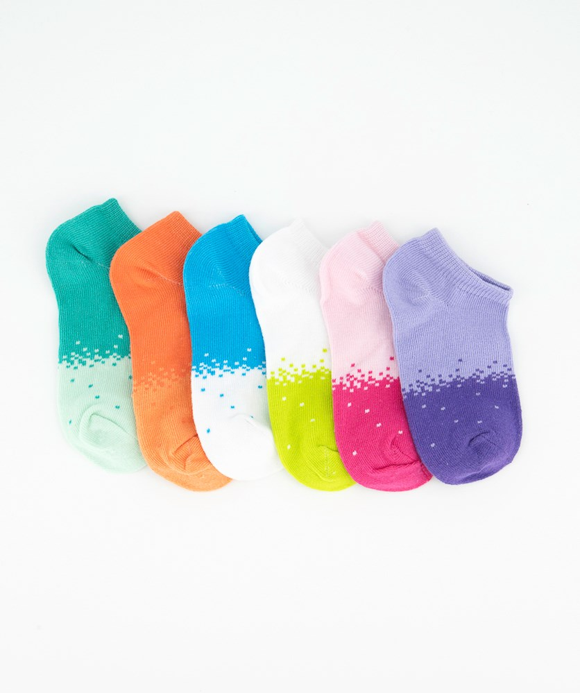 Toddler Girl's 6 Pair Girls Pixel No Show Socks, Purple/Blue/Orange/Green