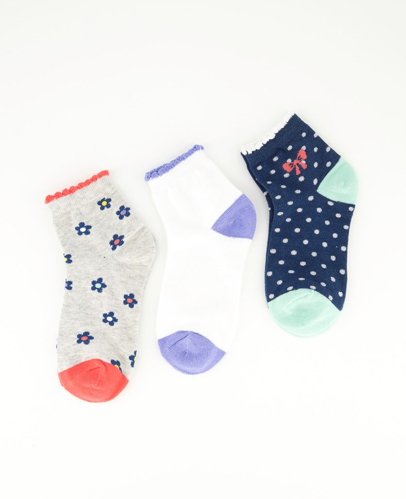 Kids Girl's 3pack Polka,Flower And Plain Socks, Navy/Grey/White