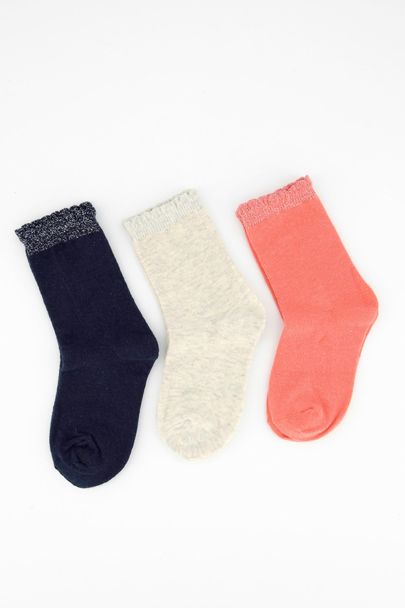 Toddler Girl's 3 Pair Sparkle Crew Socks, Navy Blue/Khaki/Coral