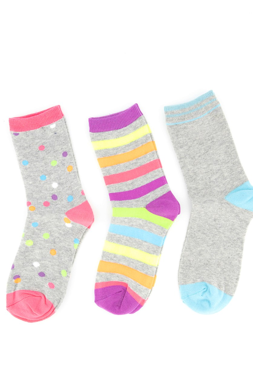 Girl's 3 Pair Printed Socks, Grey/Blue/Violet/Pink