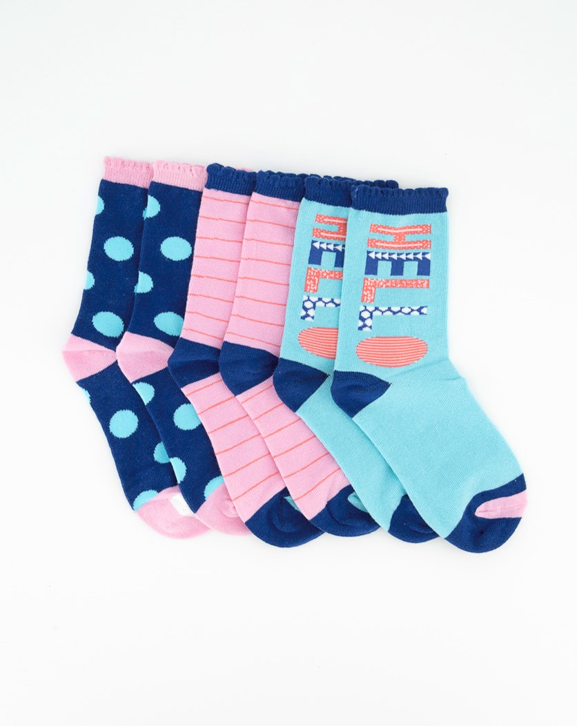 Girls's 3 Pair Hello Fun Crew Socks, Blue/Pink Combo