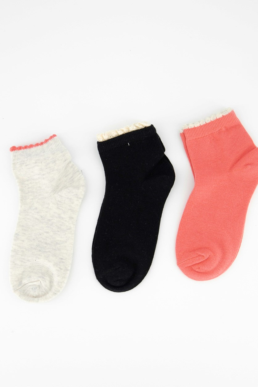 Girl's 3 Pair Picot Anklet Socks, Coral/Black/Beige