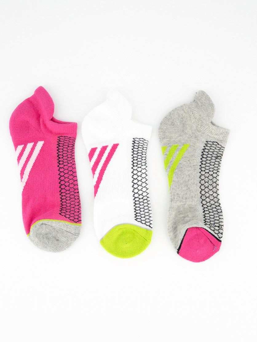 Girl's 3 Pair Ankle Socks, White/Grey/Pink