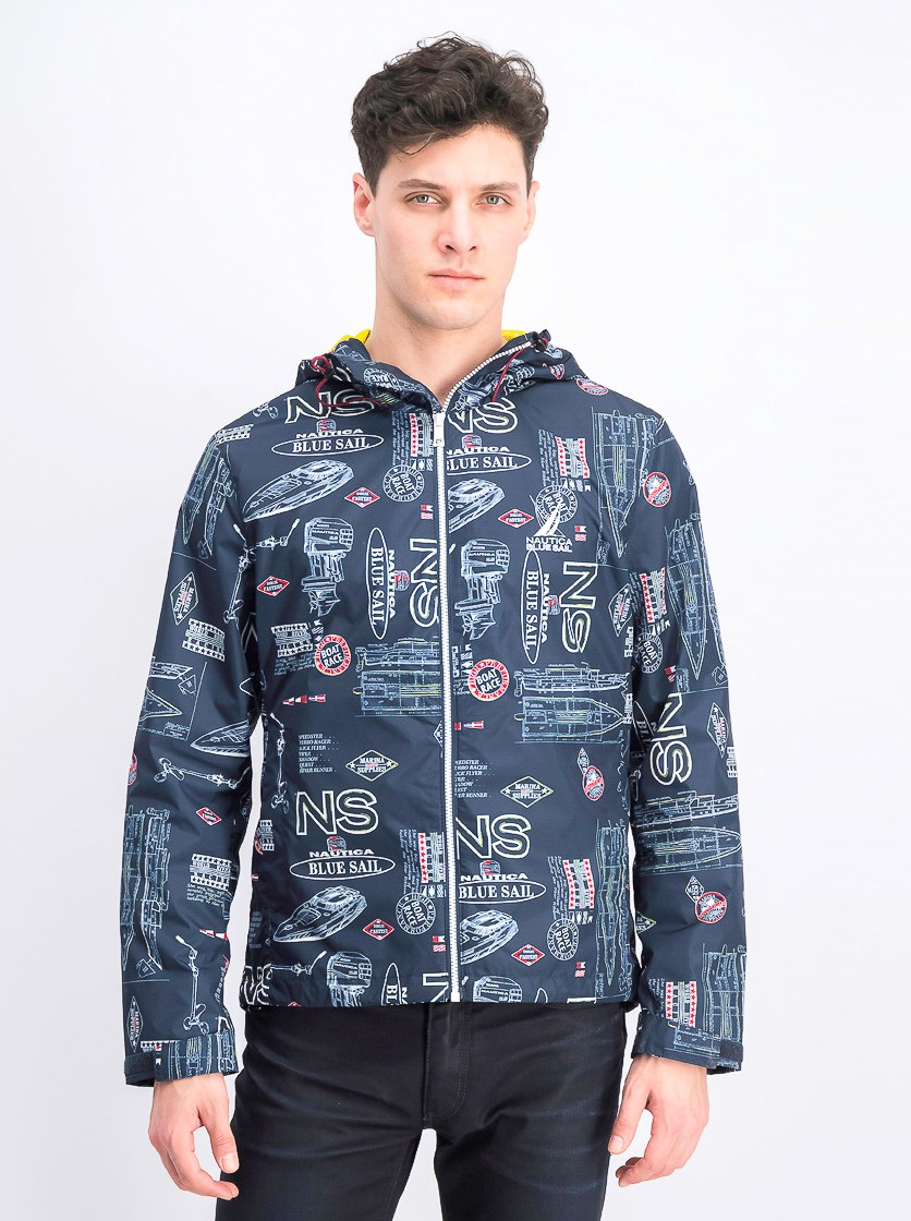 Blue Sail Graphic Full-Zip Hooded Jacket, Navy