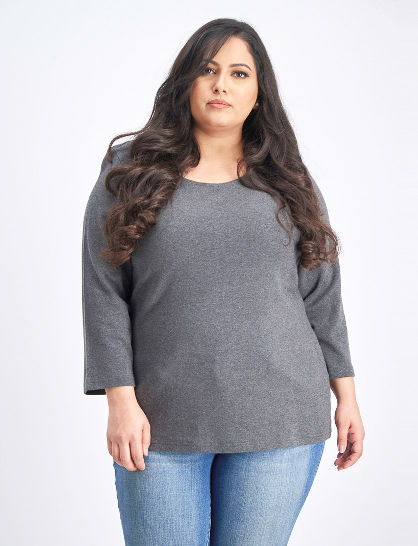 Plus Size Cotton Scoop-Neck Top, Charcoal Heather