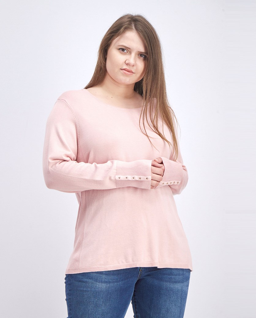 Women's Studded-Cuff Sweater, Frost Pink