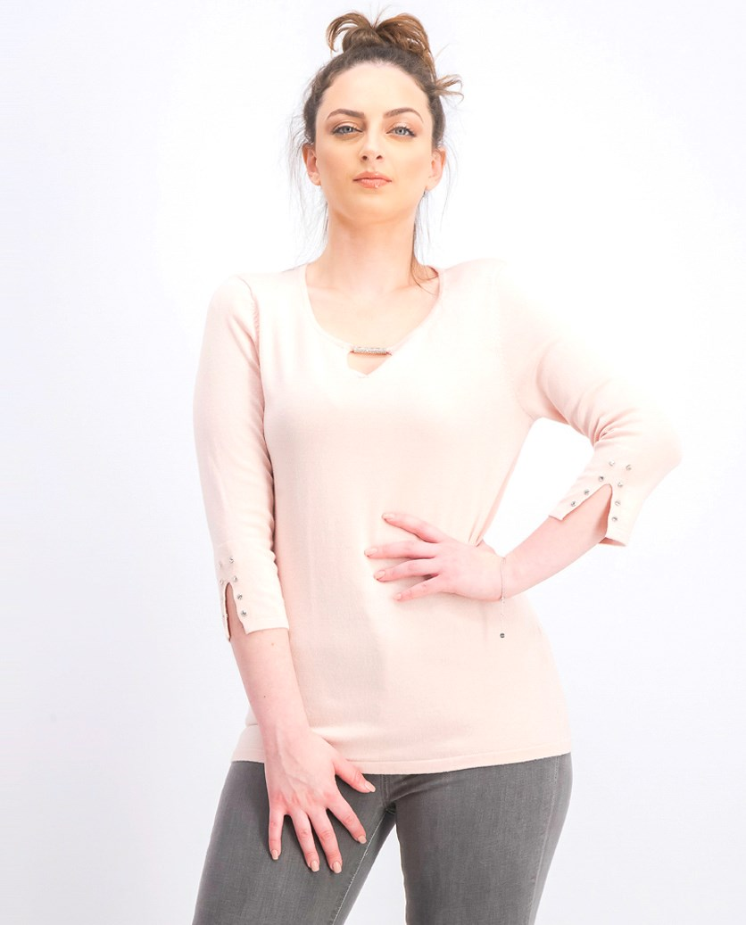 Petite Buttoned-Cuff Keyhole Top, Polished Nude