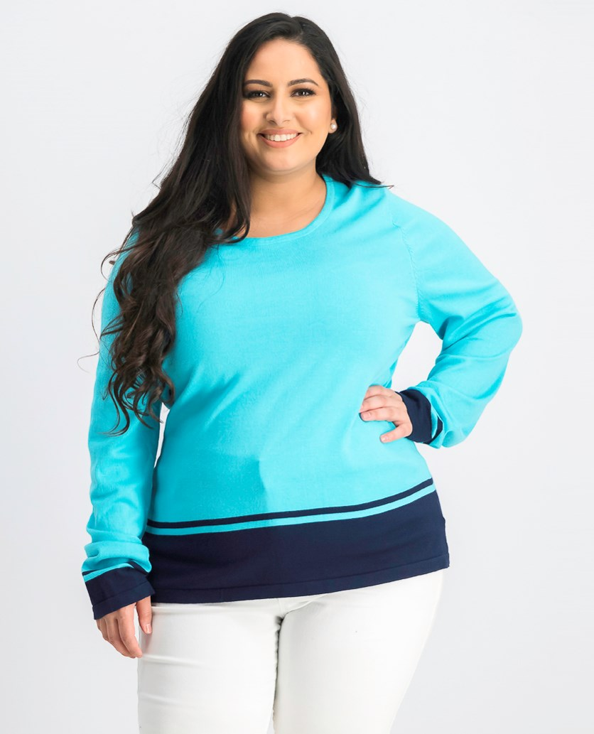 Women's Contrast Trim Ribbed Trim Pullover Sweater, Teal Combo