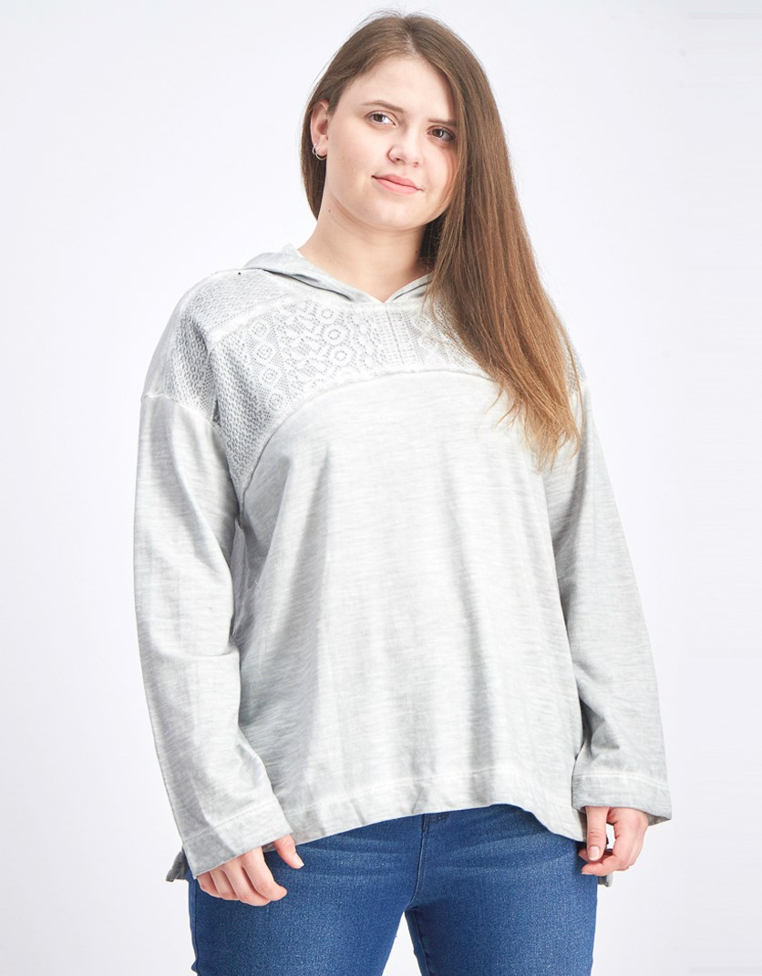 Women Lace-Yoke Pullover Hoodie, Grey