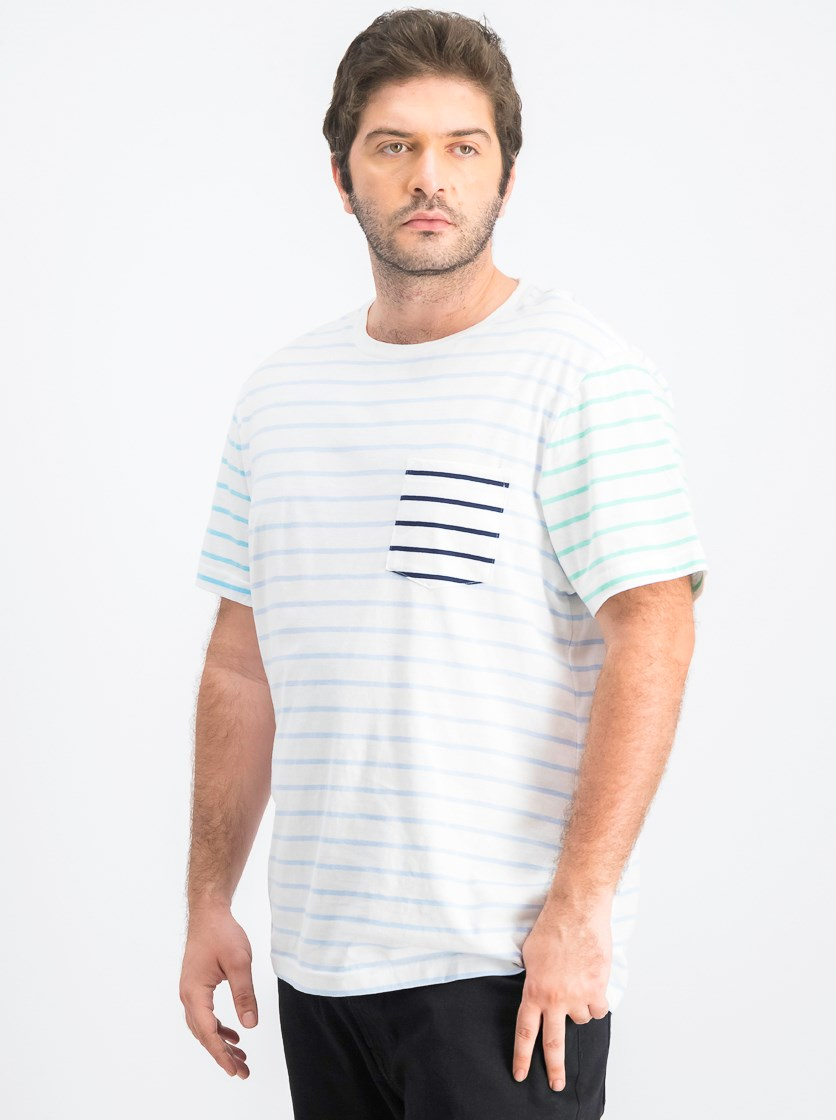 Men's Contrast Stripe T-Shirt, White Stripe
