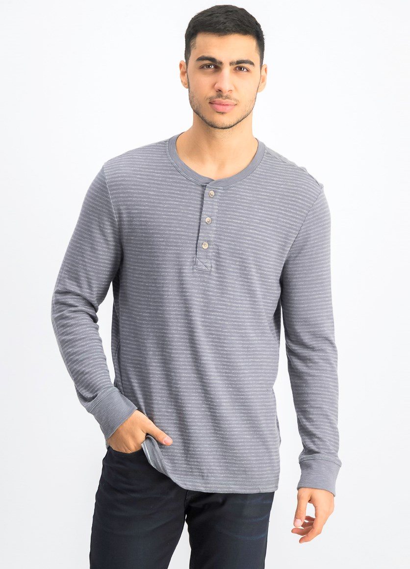 Men's Long Sleeve Striped Sweater, Grey