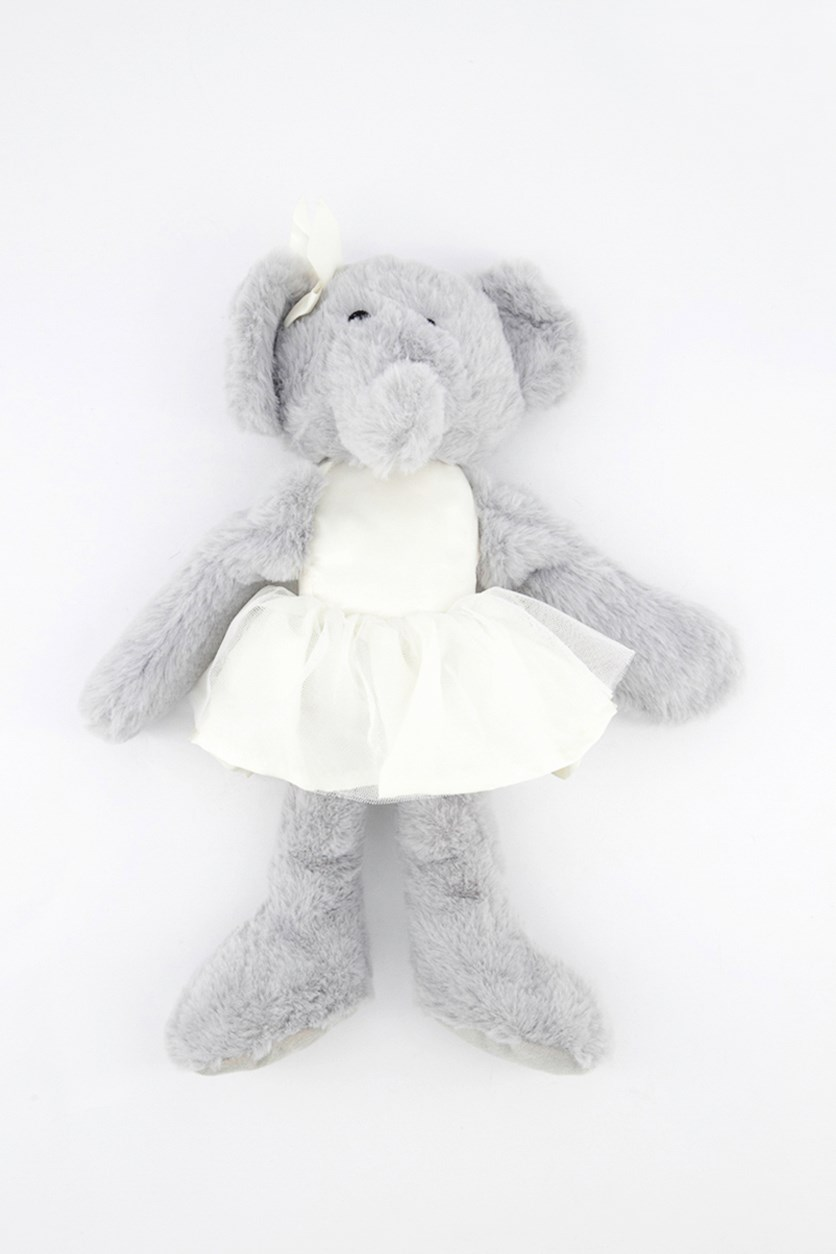 Ballerina Elephant With Rattle, Grey/White