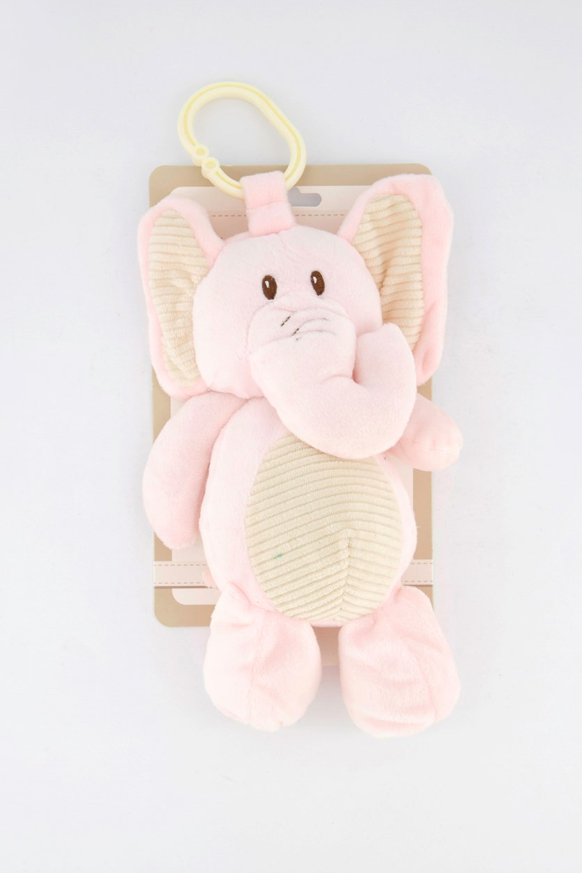 Elephant Baby Rattle Clip On Hanging Soft Toy Plush Crinkly Ears, Pink