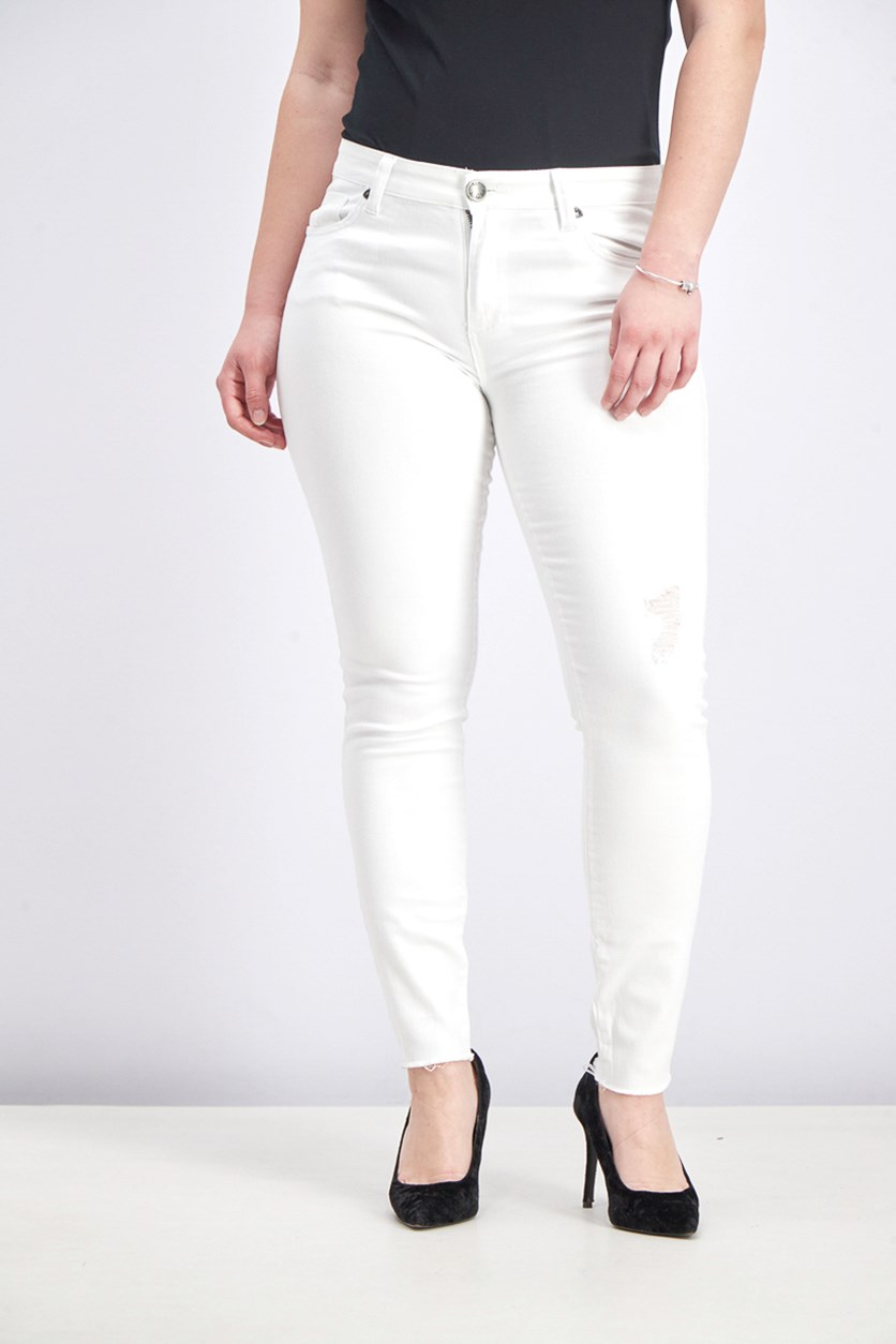 Elanna Distressed Frayed Hem Skinny Jeans, White