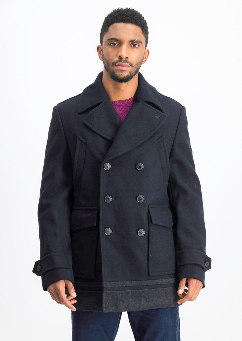 Men's Long Sleeve Pea Coat, Navy