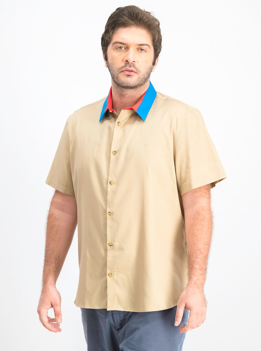 Men's Classic-Fit Colorblocked Shirt, Light Brown