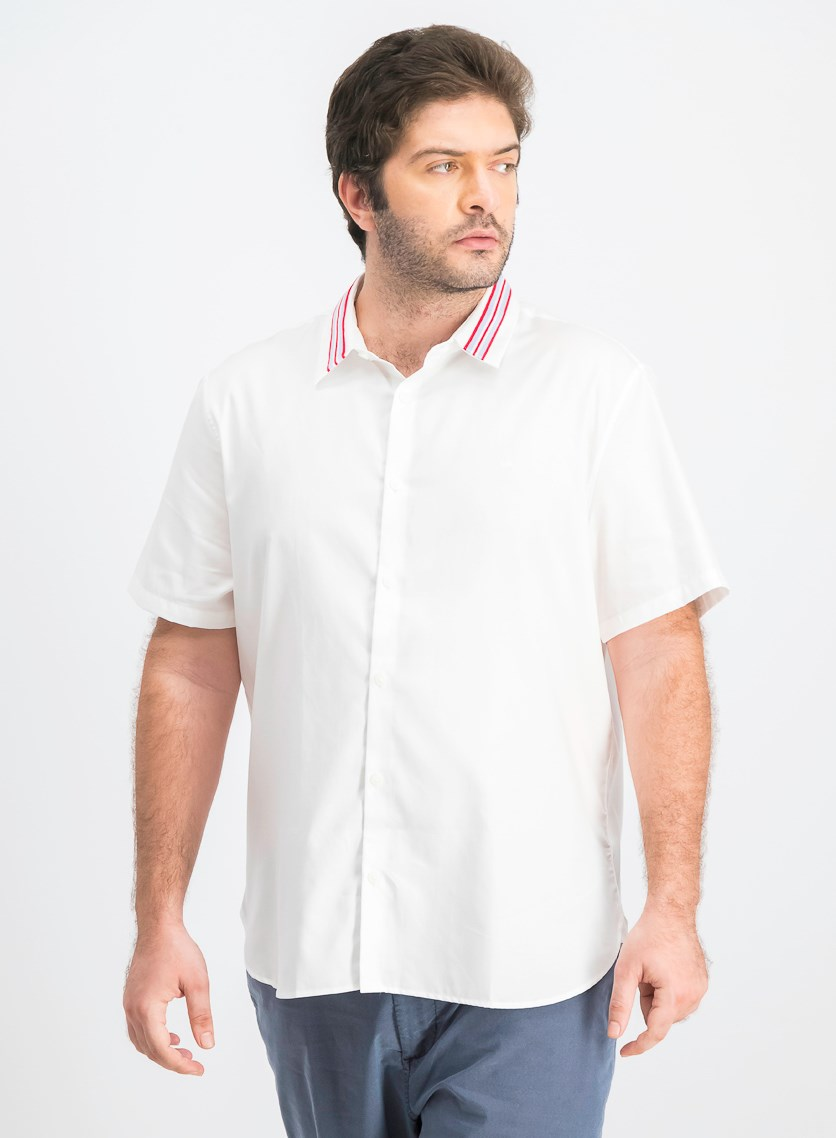 Men's Stripe-Collar Shirt, Standard White