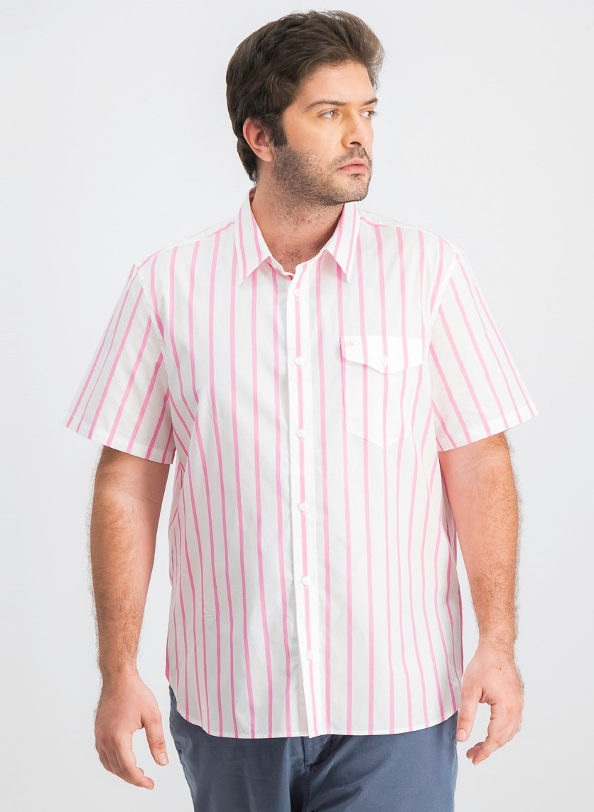 Men's Classic-Fit Yarn-Dyed Stripe Shirt, Pink/White