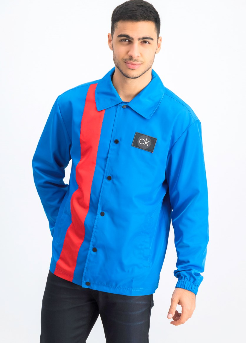 Men's Colorblocked Logo Coach's Jacket, Blue/Red
