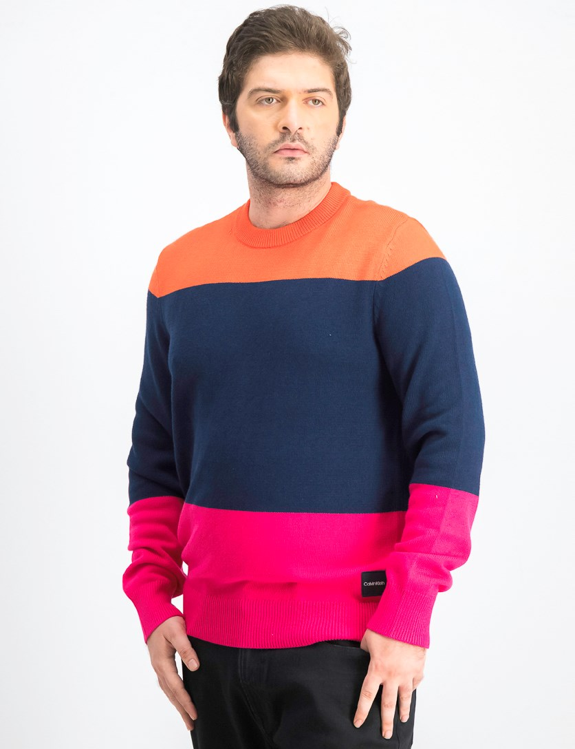 Men's Colorblocked Sweater, Orange/Navy/;Pink