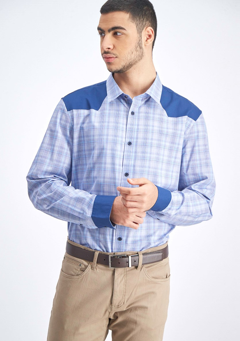 Men's Classic-Fit Colorblocked Plaid Western Shirt, Faded Cadet