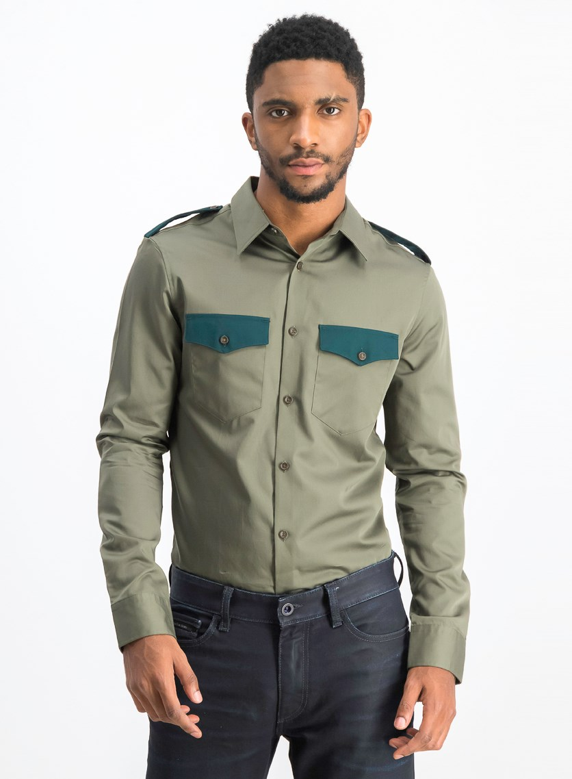 Men's Slim-Fit Colorblocked Sateen Utility Shirt, Greenstone