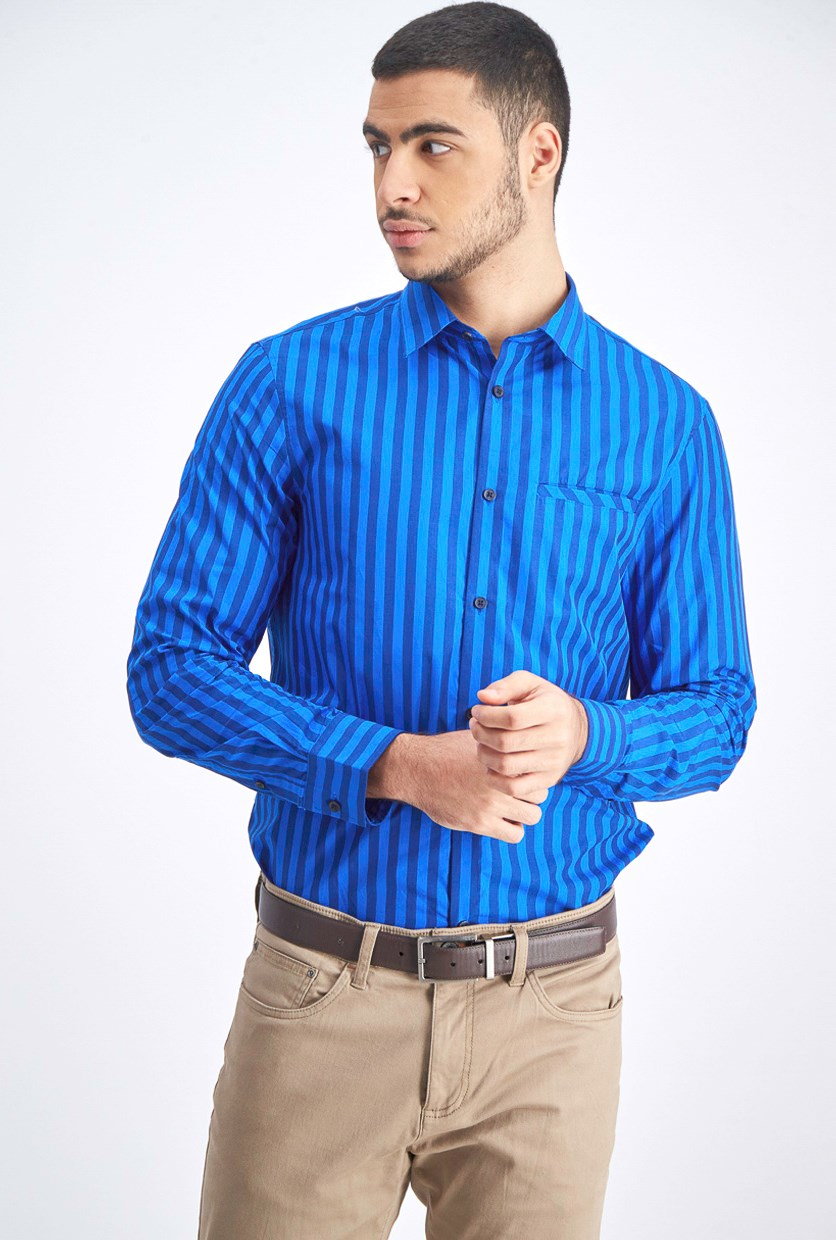 Men's Stripe Shirt, Royal/Navy