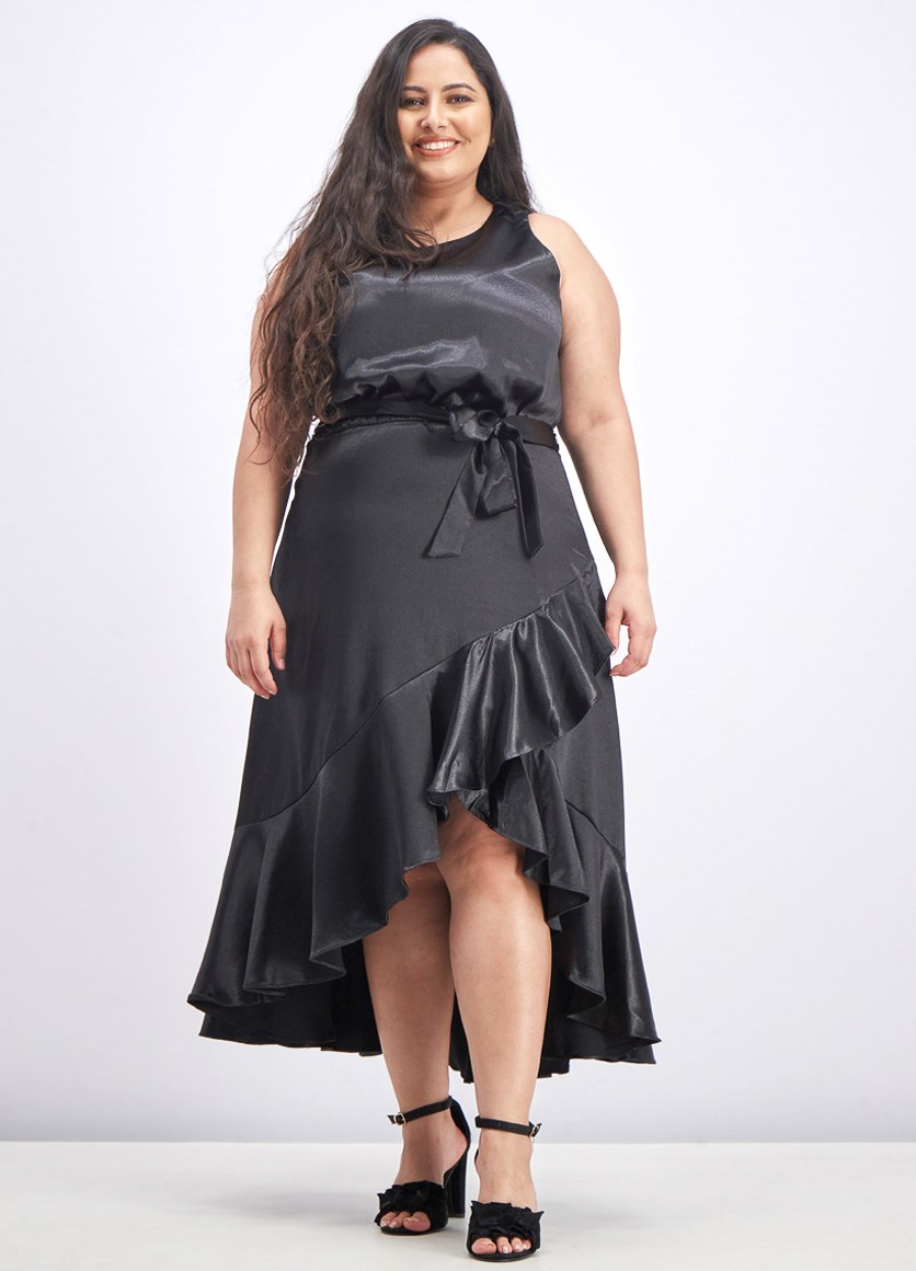 Women's Satin Midi Dress, Black