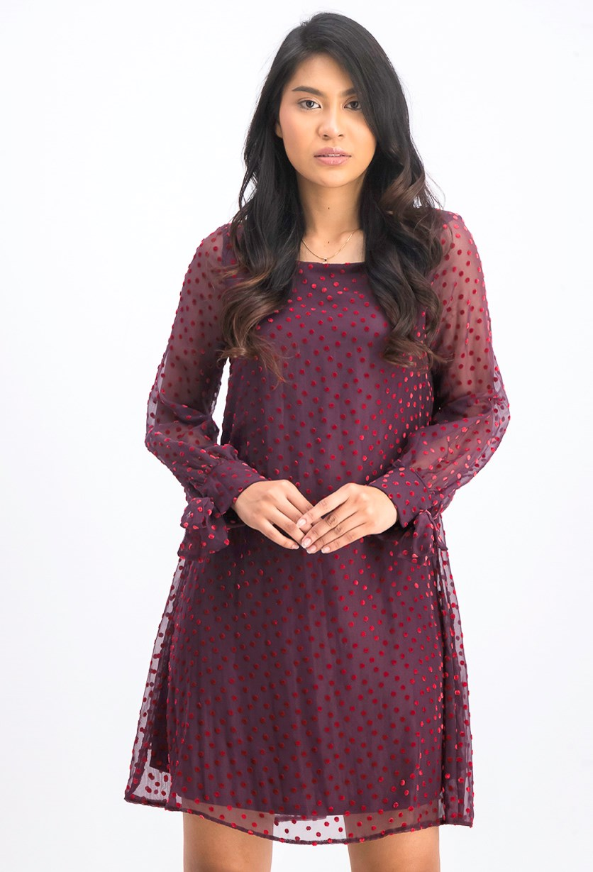 Women's Velvet-Dot Shift Dress, Burgundy