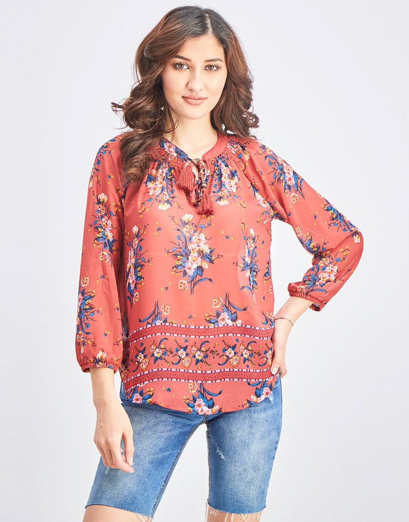Women's Floral Longsleeves Top, Red