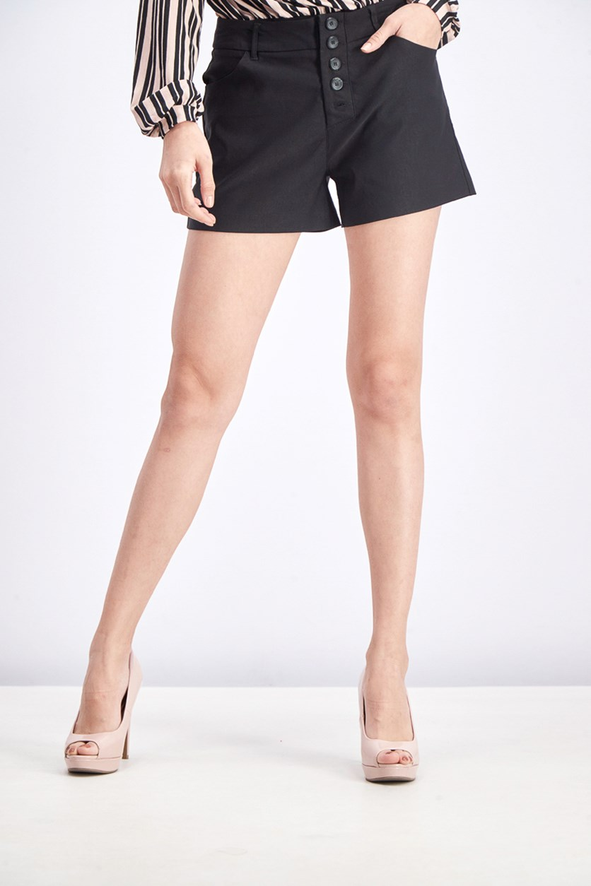 Women's High Waisted Button Fly Short, Black