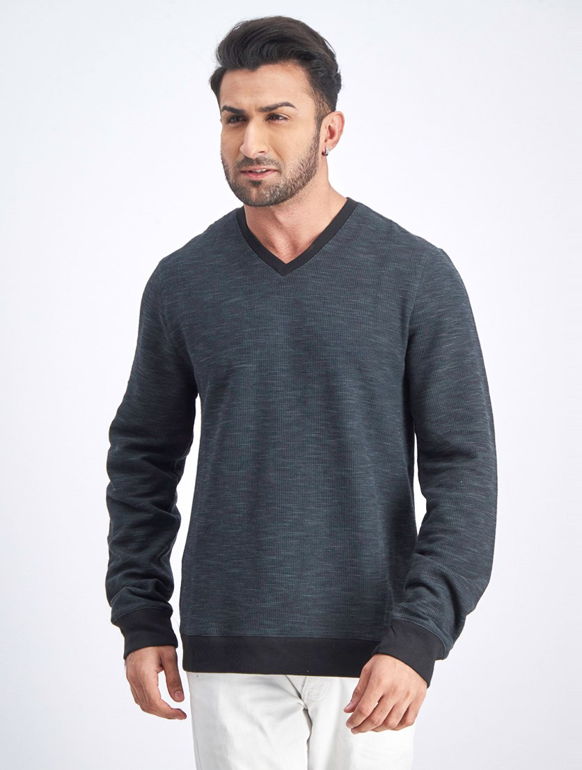 Men's Thermal V-Neck Sweater, Black