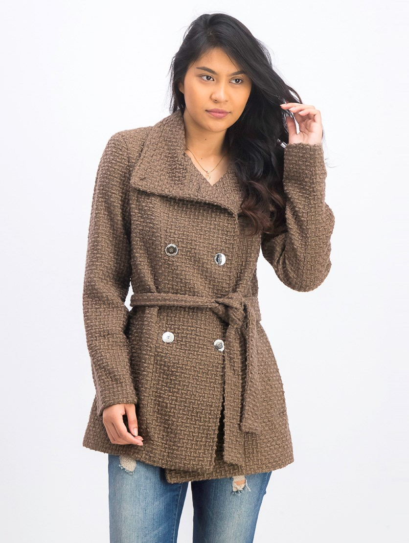 Women's  Belted Double Breasted Wool Coat, Mesh Brown