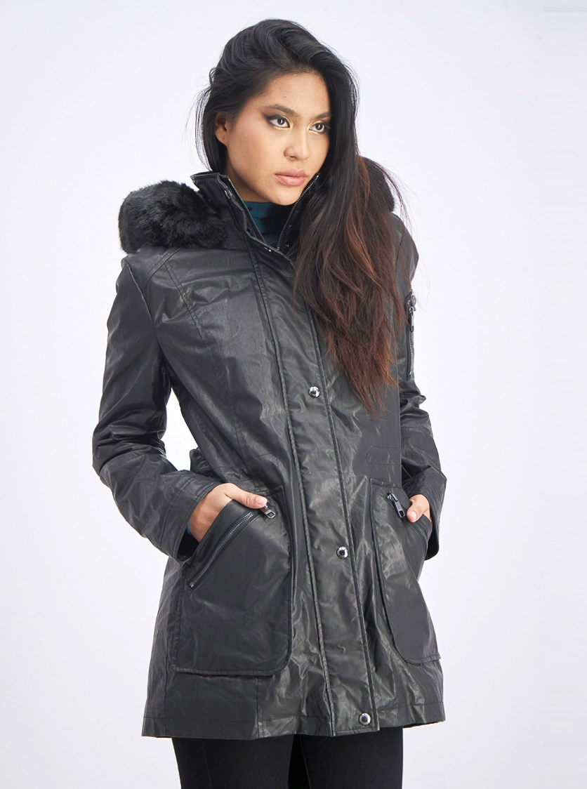 Women's Waxy Rain Anorak Coat, Black