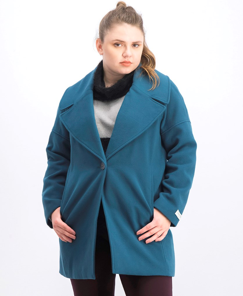 Women's Oversize Collar Boyfriend Coat, Teal