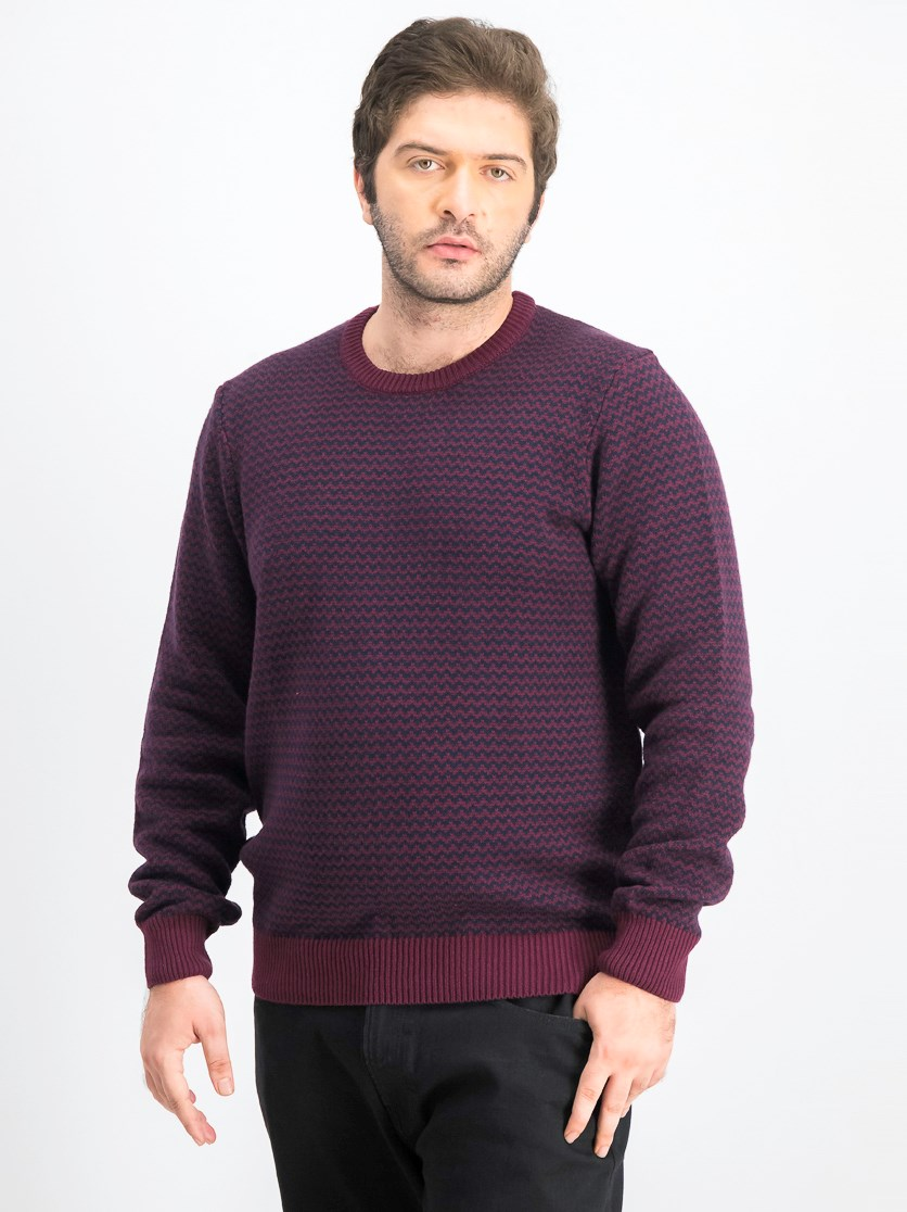 Men's Herringbone Sweater, Port