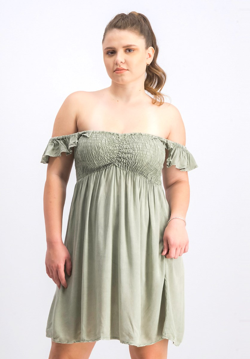 Women's Off-The-Shoulder Ruffled Cover, Sage