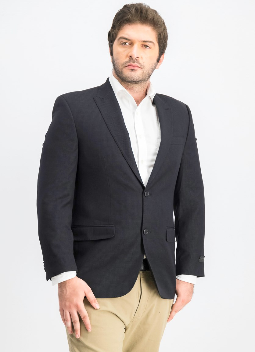 Shiny Grey Stripe Classic-Fit Blazer, Black
